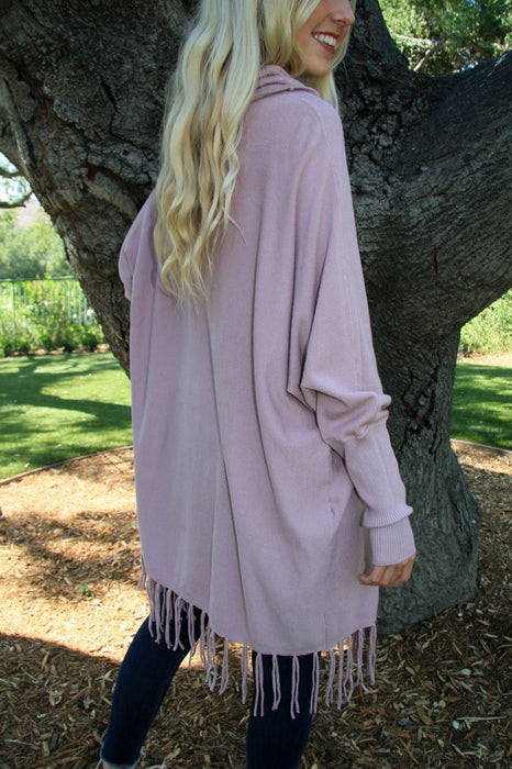 Sipping Rose Fringe Tunic Sweater