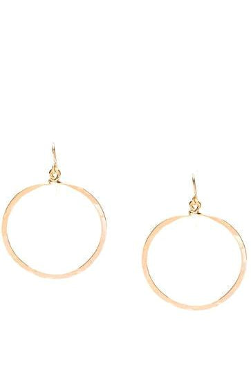 Hammered Hoops Medium 14K Gold or Sterling Silver Plate