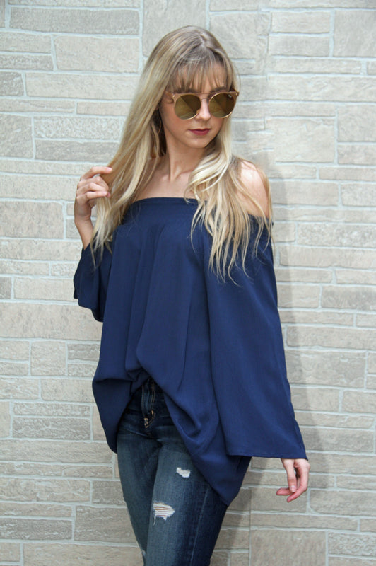 Anquors Away Off the Shoulder Blouse Navy