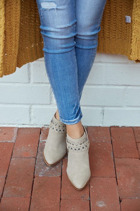 The Ashley Embellished Open-Back Boho Bootie