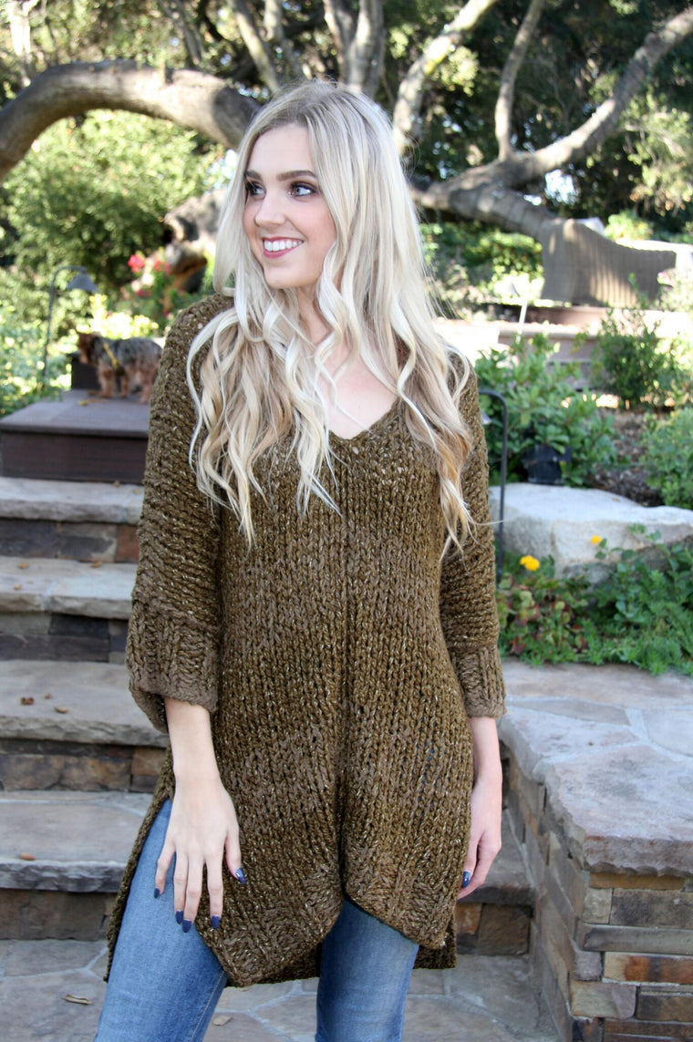 Free People Chunky Olives in my Martini Please Sweater Olive