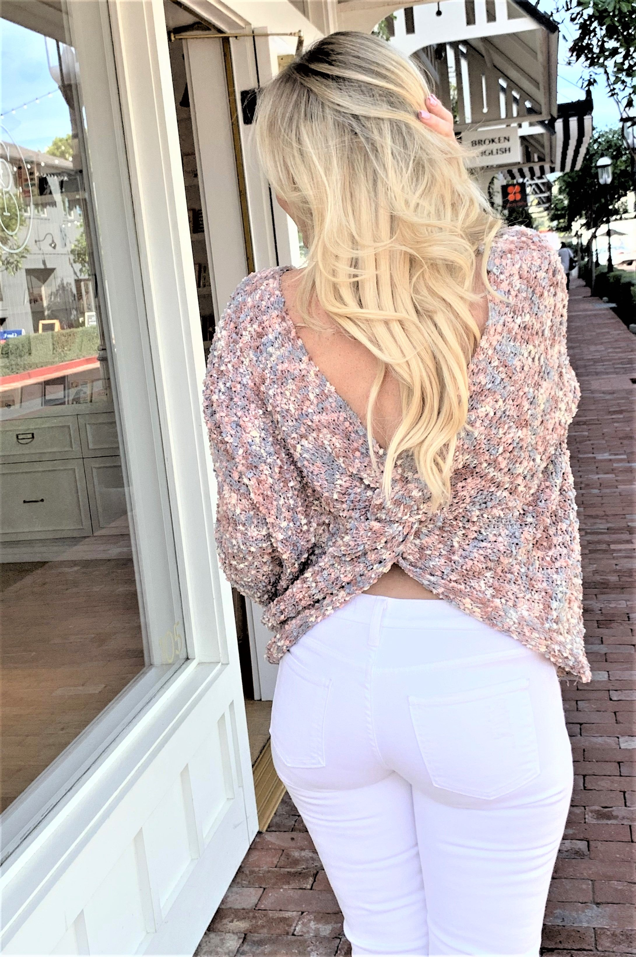 Pastel Palette Plunging Back Sweater Pink Multi