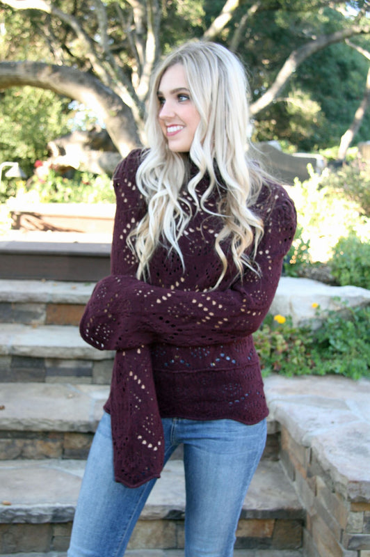 Free People Cory Turtleneck in Plum