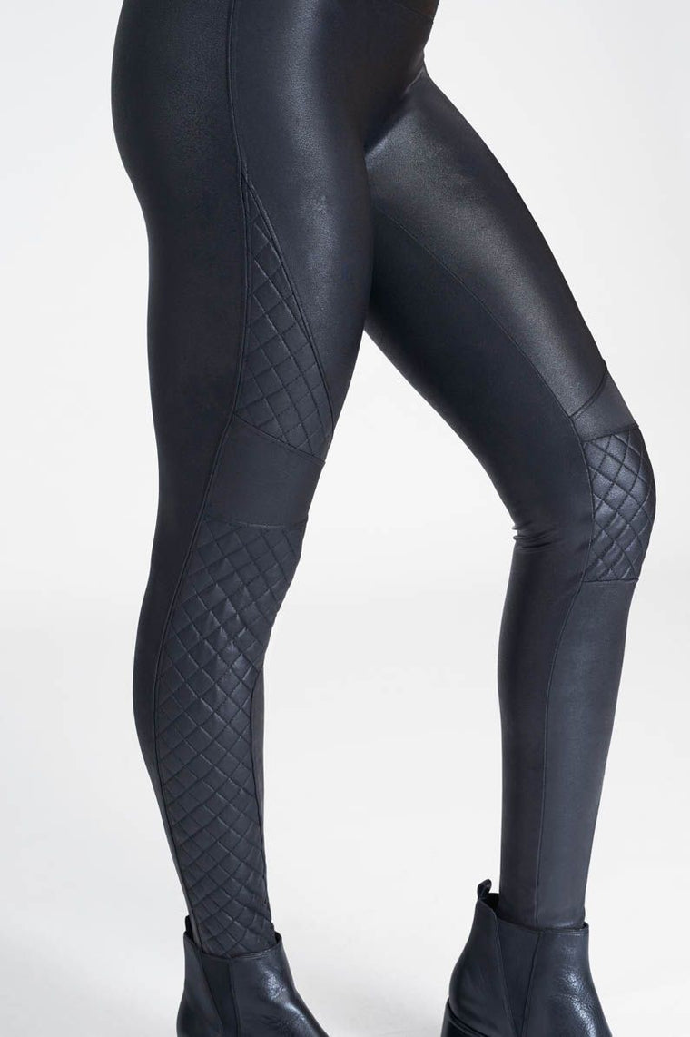 Spanx Quilted Faux Leather Leggings Black