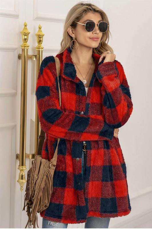 Buffalo Plaid Teddy Shacket Red