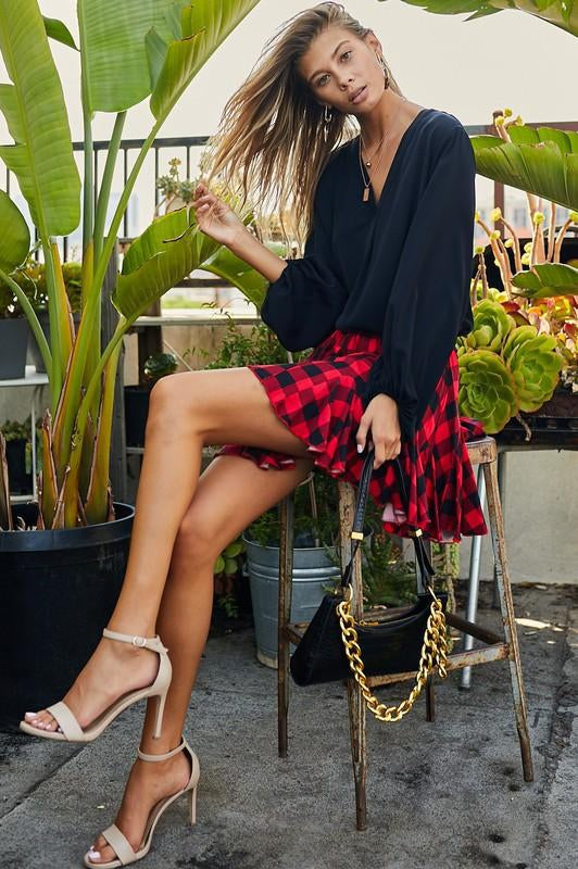 All the Fun Plaid Ruffle Skirt