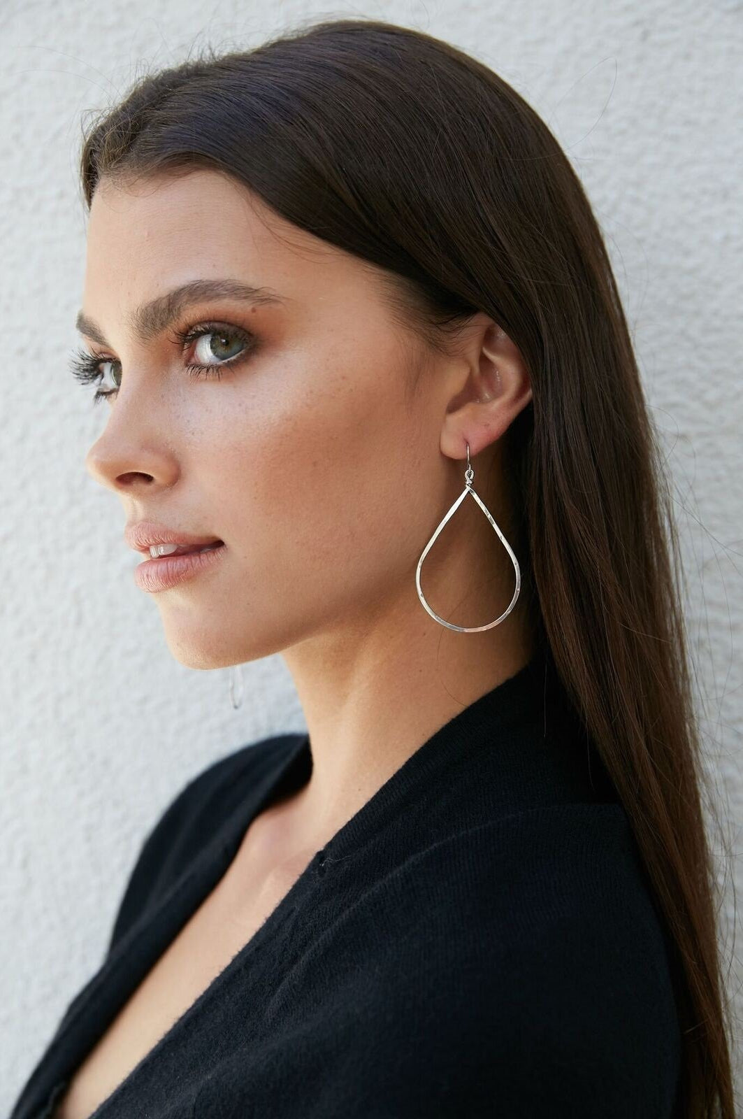 The Perfect Teardrop Earrings Hammered 14K Gold and Sterling Silver Medium