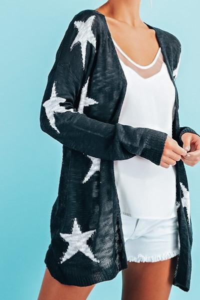 Picnics and Barbecues Star Cardigan Navy and White