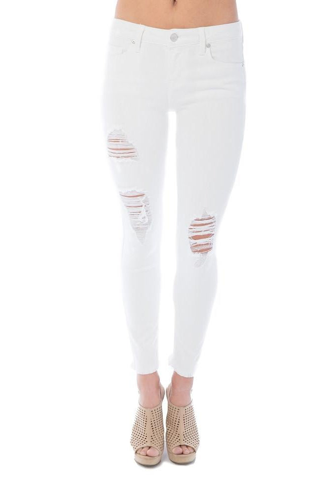Frayed Edge Skinny Distressed Denim White