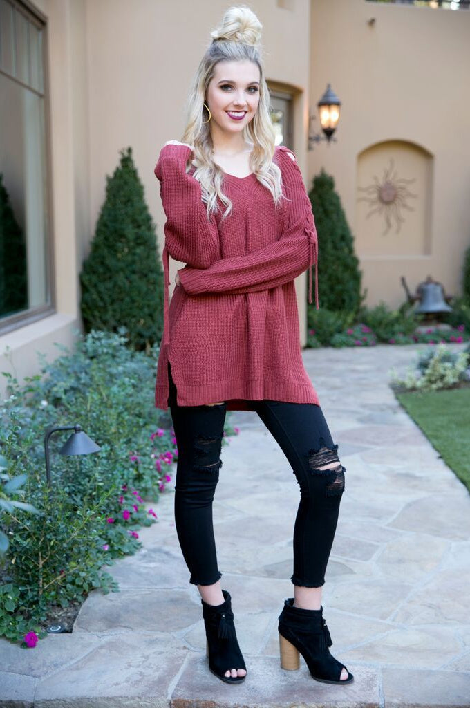 Criss Cross You Sweater in Apricot