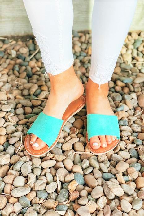 Cabana Time Suede Sandals Turquoise