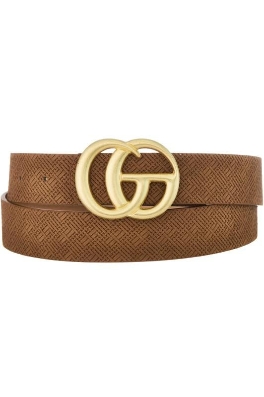 GG Buckle Belt Brown Weave