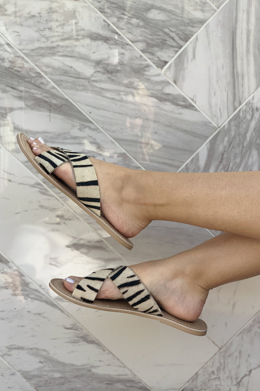 Paradise Island Escape Faux Cowhide Zebra Sandals