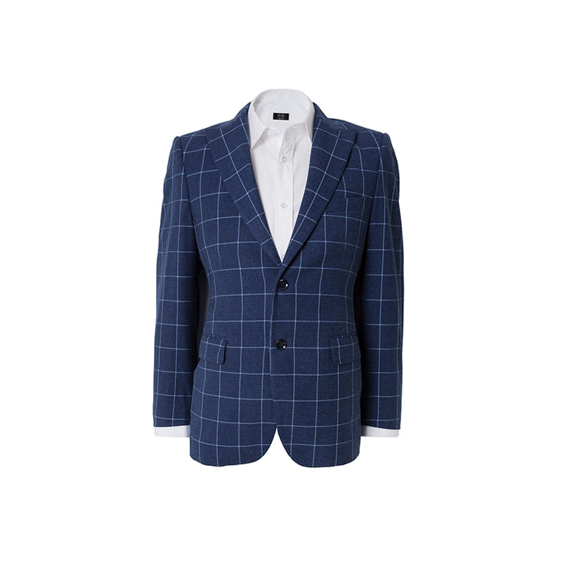 Blue Windowpane Check Suit