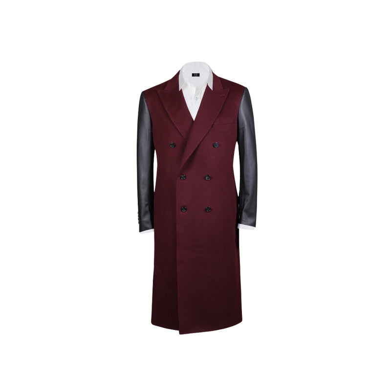 Burgundy Cashmere Coat with Leather Sleeves