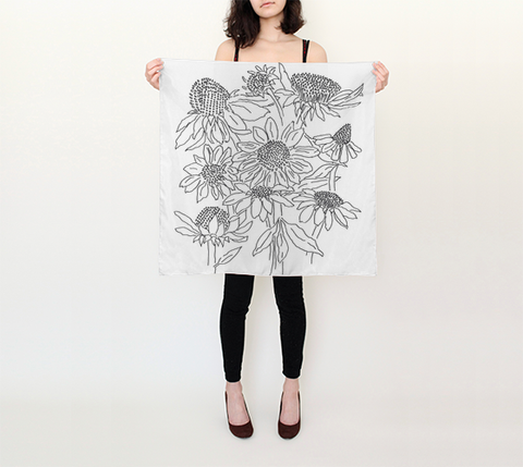 Silk Scarves by DBR - Floral in Ink Square (26in x 26in) Scarf
