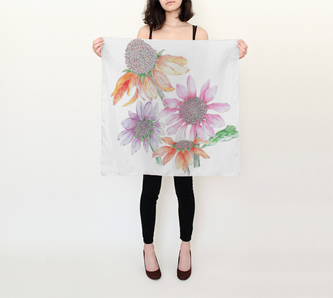 Silk Scarves by DBR - Floral in Pencil Square (26in x 26in) Scarf