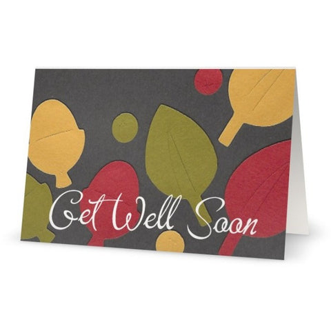 10 Pk Paper Leaves Get Well Soon Card (5in x7in) - Blank Inside. Envelope included (white).