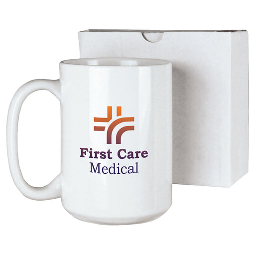 15 Oz White Ceramic Mug with Box