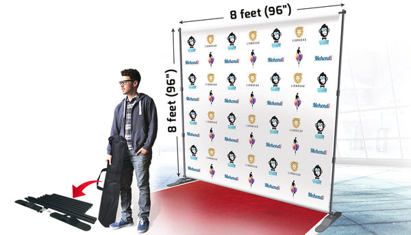 13oz Scrim Vinyl 8 X8 W Telescopic Backdrop Banner Stand