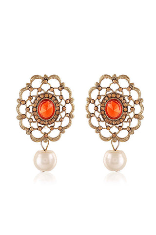 Golden Floral Shape Drop Earrings With Orange Ruby Stones