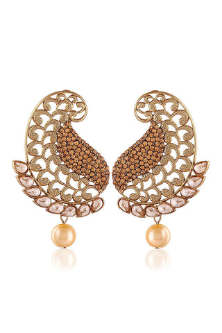Golden Contemporary Drop Earrings With American Diamond