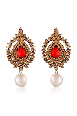 Golden Peral Shape Brass Drop Earrings with Red Ruby Stone