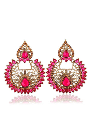 Golden Round And Leaf Shape Brass Drop Earrings With Pink Ruby Stones