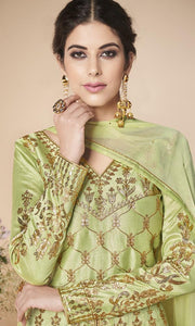 Pista Green Mulberry Silk Party Wear Anarkali Suit By Aashirwad