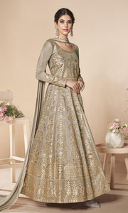 Golden Mulberry Silk Party Wear Anarkali Suit By Aashirwad