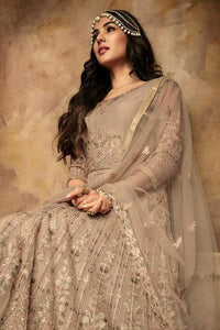 BEIGE NET EMBROIDERED ANARKALI STYLE SUIT