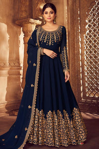 NAVY BLUE PURE GEORGETTE EMBROIDERED PARTY WEAR ANARKALI SUIT