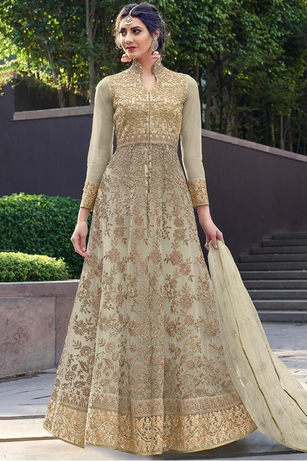 dbef0edc4 Buy THUNDER GRAY EMBROIDERED GOWN STYLE PARTY WEAR ANARKALI SUIT ...