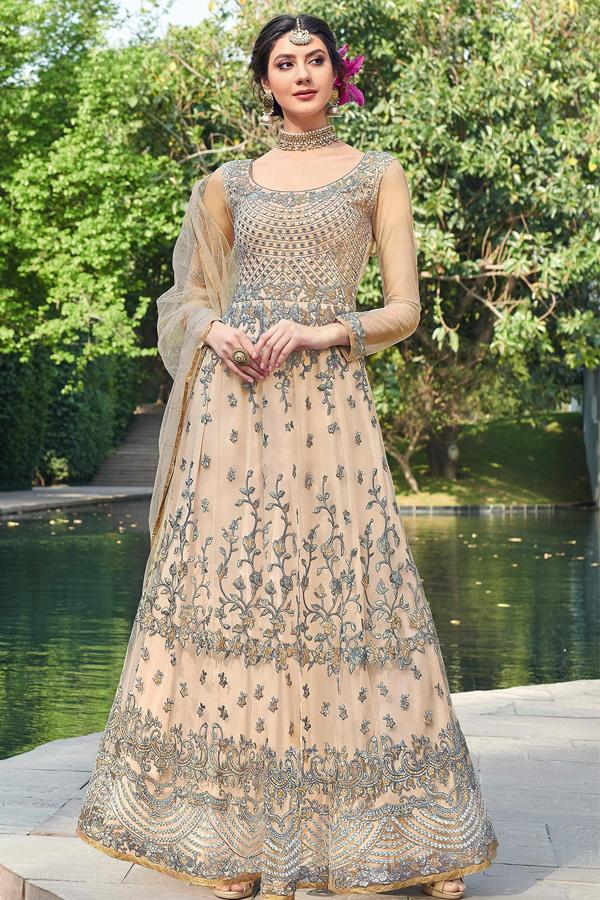 97a27841e Buy CREAM EMBROIDERED GOWN STYLE PARTY WEAR ANARKALI SUIT online at ...