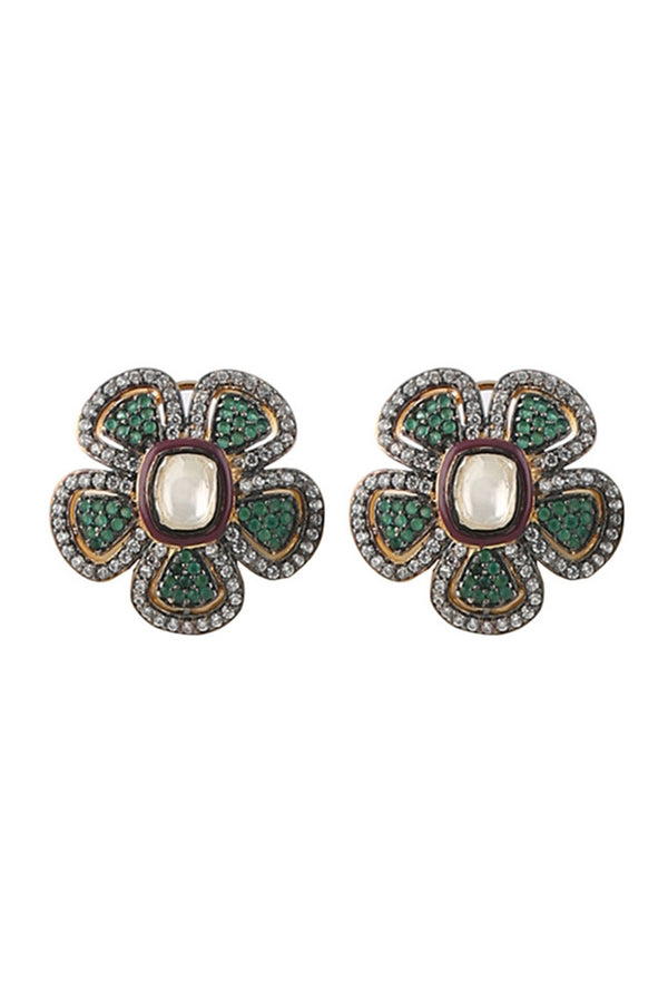 Beautiful Green and White Crystal Flower Earring