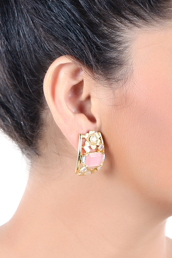 Curve Shape Golden Earring With Pink Stone
