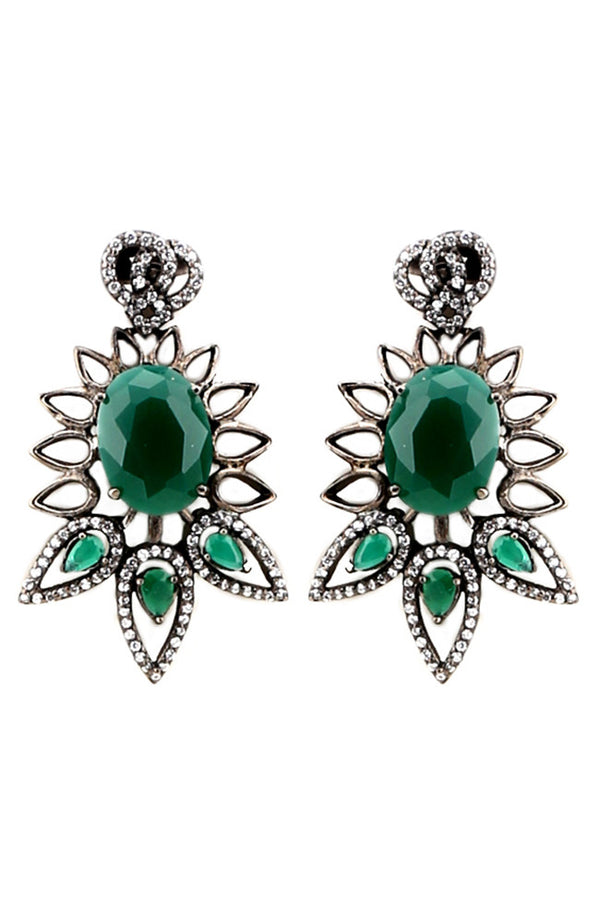 Green And Black Glass Stud Earring
