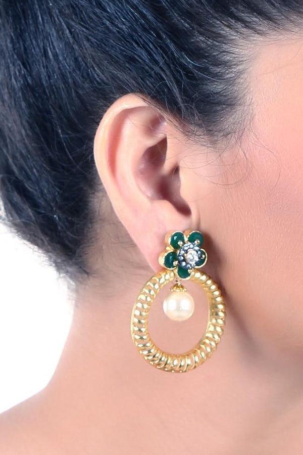 Multi Use Golden And Green Earrings.