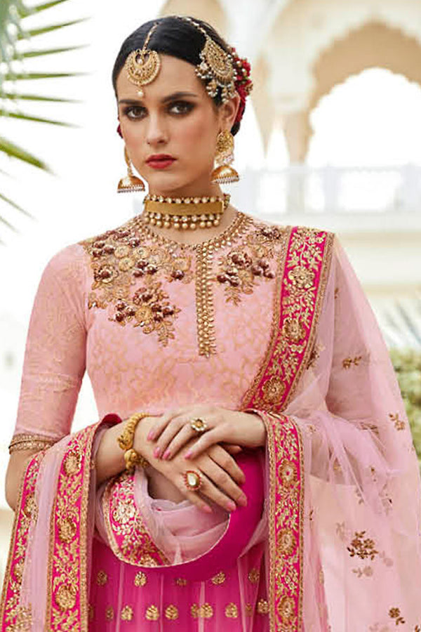 Floral Mughal Rani Pink And Peach Color Silk Anarkali Suit