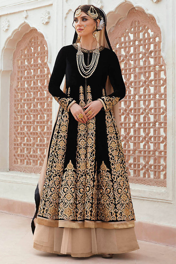 Floral Mughal Black And Beige Color Velvet Lehenga Style Suit