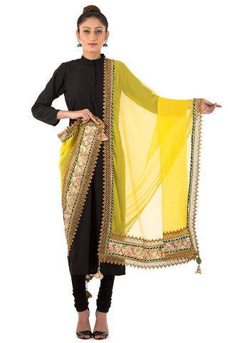 Yellow Dupatta with Floral Embroidery Border