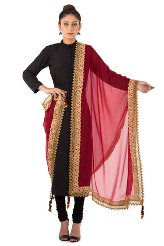 Maroon Dupatta with Golden Floral and Net Zari Border