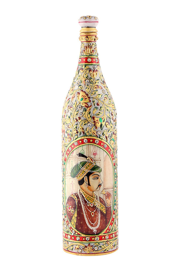 Hand Painted Bottle with Embossed Peacock & Royal Maharaja Painting