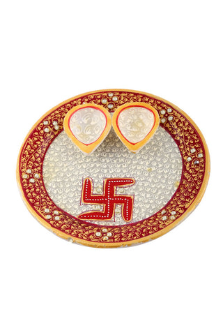 Hand Painted And Hand Crafted Red And Gray Marble Pooja Plate With Yellow Marble Diya's And With Swastika Design