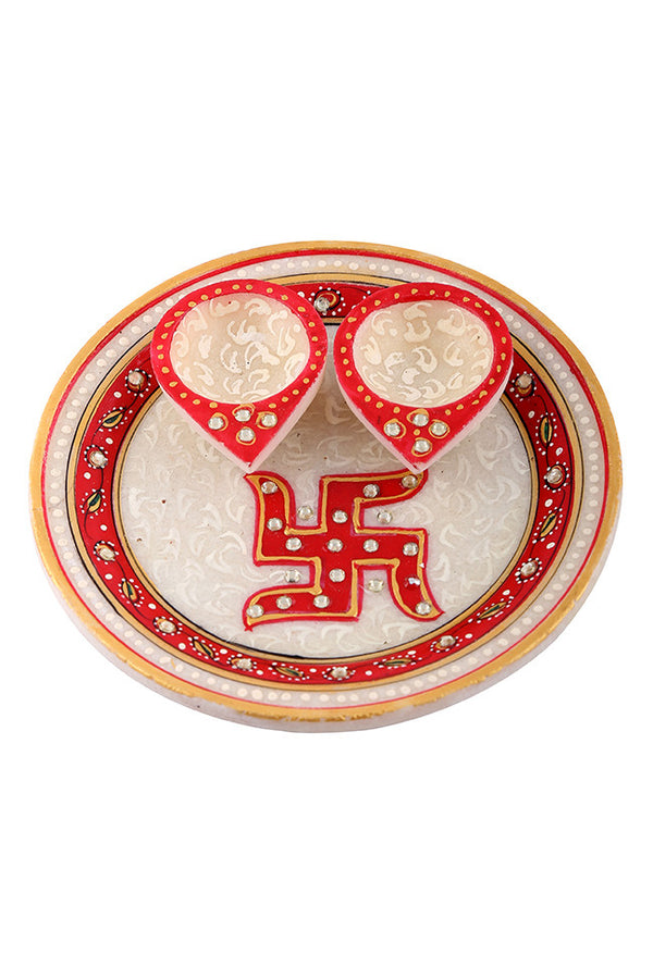 Hand Painted And Hand Crafted Red And Gray Marble Pooja Plate With Red Diya's And With Swastika Design