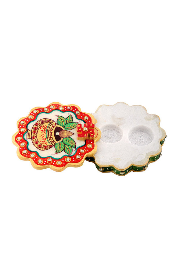 Hand Painted And Hand Crafted Flower Shape Ganesh Marble Chopra With matka Design