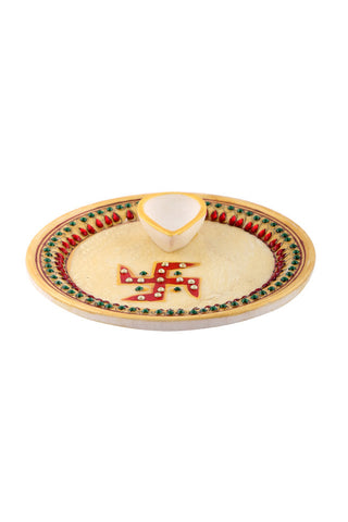 Hand Painted And Hand Crafted Light Brown Marble Pooja Plate With White And Red Single Diya With Swastika Design
