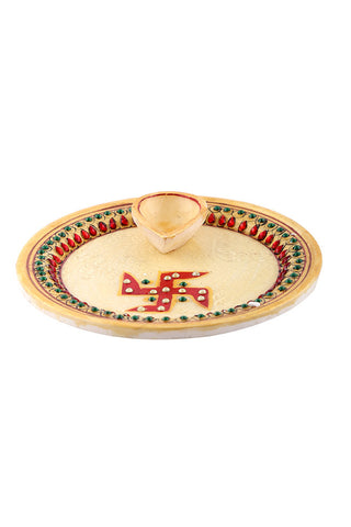Hand Painted And Hand Crafted Light Brown Marble Pooja Plate With Light Brown Single Diya With Swastika Design