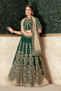 Forest Green Satin Silk Embroidered Party Wear Lehenga Choli Set By Mahotsav