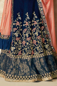 Space Blue Velvet Embroidered Party Wear Lehenga Choli Set By Mahotsav